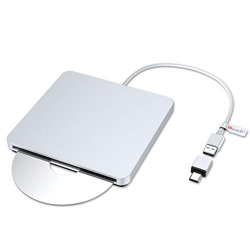 VersionTECH. USB C Type-c Ultra Slim External DVD Drive/Burner/Optical Drive CD RW DVD RW Superdrive Disc Duplicator Compatible with Mac MacBook Pro Air iMac and Laptop
