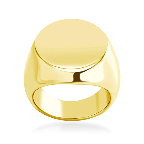 555Jewelry Stainless Steel Solid Plain High Polish Round Signet Ring for Men gold