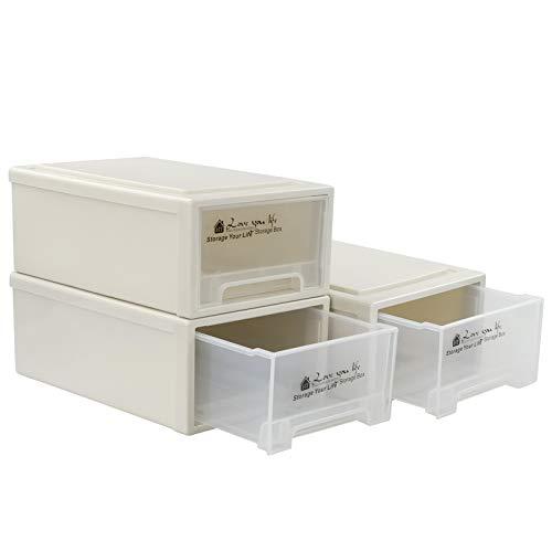 Qqbine Cajón de almacenamiento apilable transparente de 6,8 litros, caja frontal de plástico, 3 paquetes