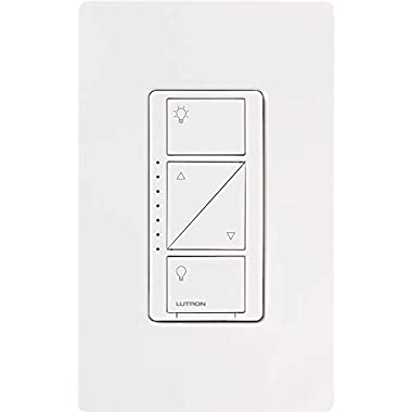 Lutron Caseta Smart Home Dimmer Switch with Wallplate, Works with Alexa, Apple HomeKit, and the Google Assistant | for LED Light Bulbs, Incandescent Bulbs and Halogen Bulbs | PDW-6WCL-WH-A | White