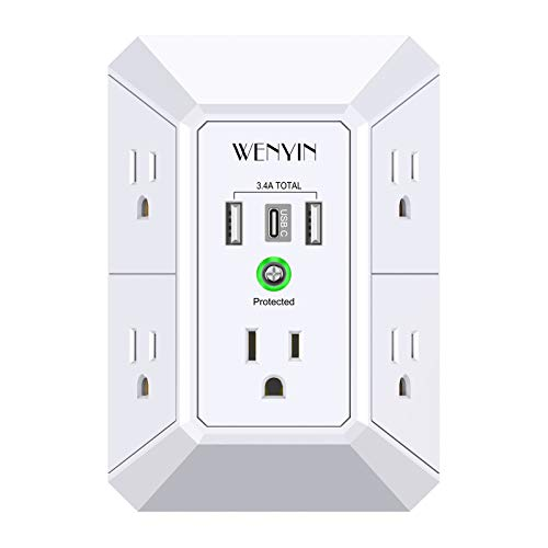 USB Wall Charger, Surge Protector, 5 Outlet Extender with 3 USB Ports, 3-Sided 1680J Power Strip Multi Plug Outlets Wall Adapter Spaced for Home Travel Office (2USB 1Typc C)
