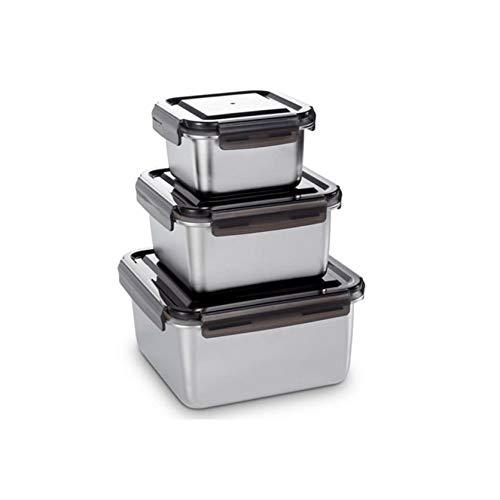 Larew Recipientes herméticos de acero inoxidable, 3 unidades, con tapa, apilables, para la cocina del hogar o el frigorífico