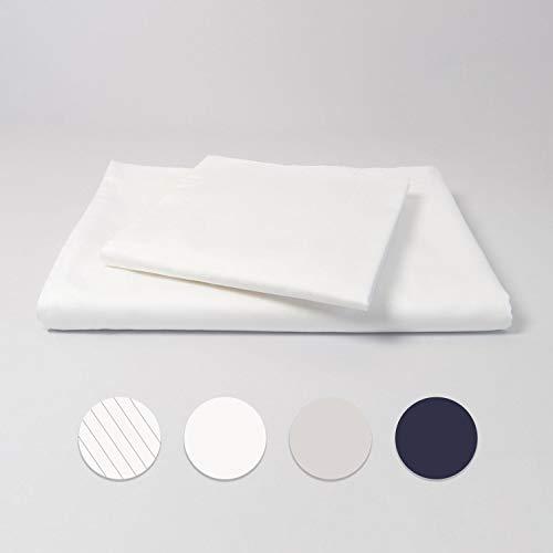 cloudlinen Bettwäsche Set aus 100% Extra-Langstapeliger Premium Baumwolle - 135x200 cm (Bettbezug) + 80x80 cm (Kissenbezug) - weiß einfarbig/unifarben - kuscheliger, Warmer und weicher Mako Satin