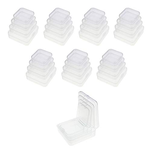 LJY 32 Pieces Mixed Sizes Square Empty Mini Clear Plastic Storage Containers Box Case with Lids for Small Items and Other Craft Projects