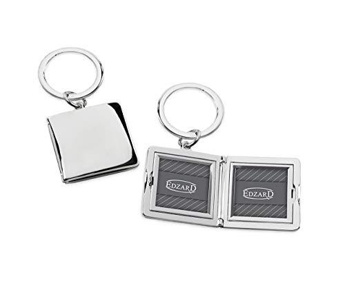 EDZARD Schlüsselanhänger mit Fotorahmen, Fotoanhänger, zum Aufklappen, versilbert und anlaufgeschützt, für 2 Fotos 3 x 3 cm