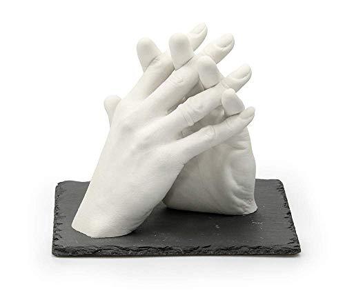 Lucky Hands Family & Wedding Abformset DUO | 3D Handabdruck Set DIY für 2 Erwachsenenhände | Gipsabdruck für Hochzeit, Familie, Kinder & Jugendliche (inkl. Schiefersockel 20 x 20 cm)
