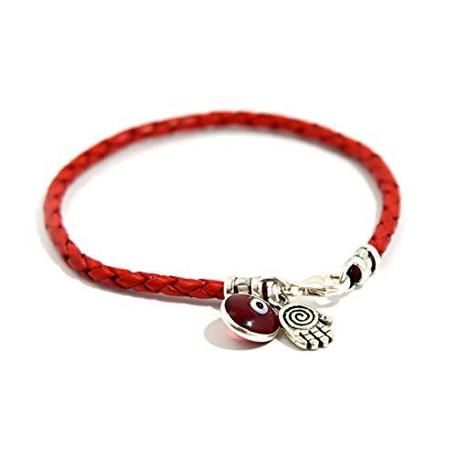 Hamsa espiral para protección en plata de ley sobre pulsera de cuero trenzado rojo - 18 cm