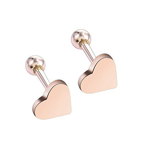JINGGEGE 2 UNIDS Piercing Jewelry Tragus Stud Pendientes Cartílago Helix Forma de corazón Ear Studs Mujeres Joyería (Metal Color : Gold Color)