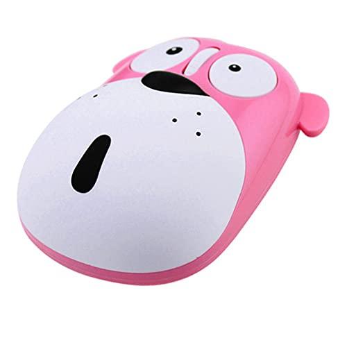 BAWAQAF Ratón silencioso inalámbrico Recargable, Ordenador USB, ratón de PC Rosa Animal de Dibujos Animados Lindo