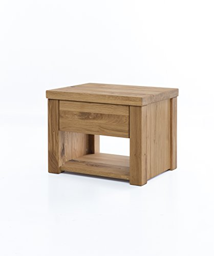 Nachttisch Boston aus massiver Wildeiche, brauner Nacht-Schrank, auch als Kommode und Ablagetisch zu verwenden, inkl. 1 Schublade mit Softclose, 54 x 40 x 40 cm