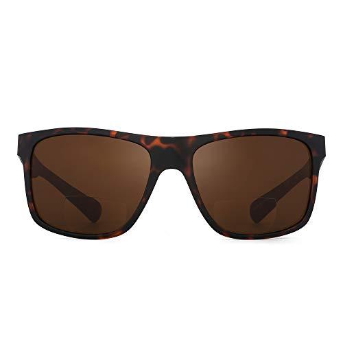 JM Bifocal Sonnenbrille für Männer Frauen Vintage Square Lesebrille Schildkrötenrahmen Braunes Glas +1.75