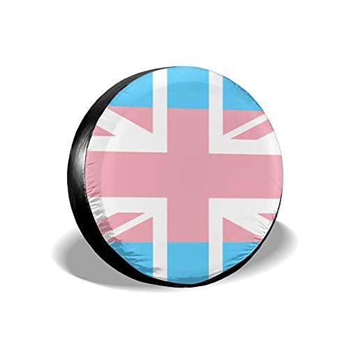 mengmeng Gay Pride LGBT Transgender UK Union Flag Stripe Fundas de rueda de repuesto universal para neumáticos de repuesto para remolques, RV, SUV y varios vehículos accesorios 14 pulgadas