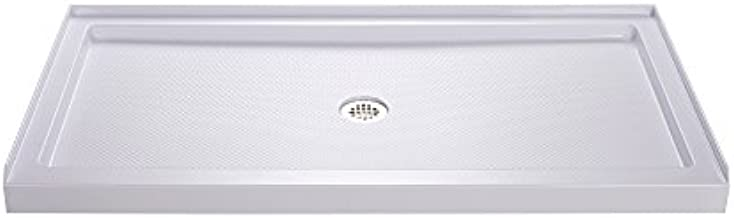 DreamLine SlimLine 34 in. D x 60 in. W x 2 3/4 in. H Center Drain Single Threshold Shower Base in White, DLT-1134600