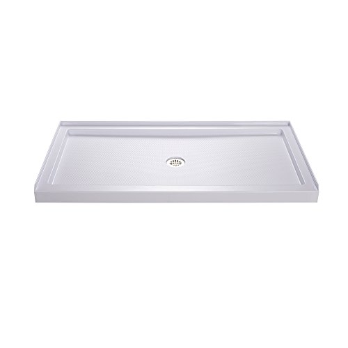 DreamLine SlimLine 30 in. D x 60 in. W x 2 3/4 in. H Center Drain Single Threshold Shower Base in White, DLT-1130600