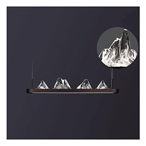 Chandelier de Restaurante Chino Moderno, lámpara de Techo Colgante 3D, led cálido de montaña acrílico, luz del Paisaje del Zen Simple, Moda (Color : Brown, Type : 44.5'+18W+29W)