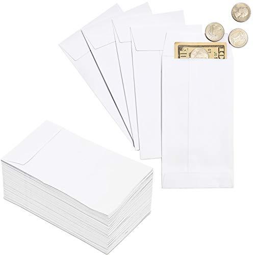 Paquete de monedas 100sobres–pequeñas sobres de dinero, para cambio de moneda, uso empresarial, Personal regalos, color blanco–3,5x 6,5pulgadas