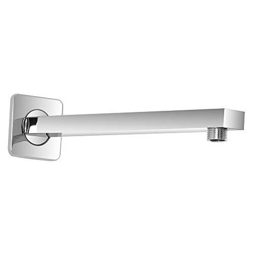 """Braccio doccia a parete, design quadrato moderno, in acciaio cromato, attacco universale G ½"""" per soffione doccia"""