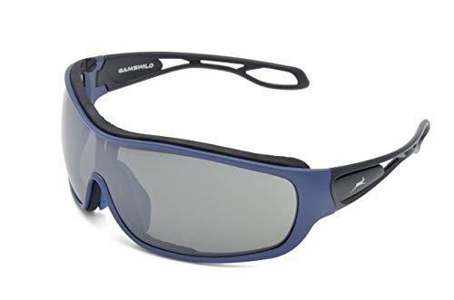 Gamswild Sonnenbrille WS3332 Sportbrille Einscheibenbrille Skibrille Damen Herren Fahrradbrille, Blau
