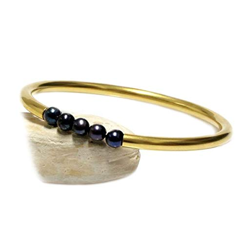 JewelryGift Pearl Beads Black Gemstone Bangle 18k Gold Plated Fashion Jewelry Bracelets for Girls 2.37