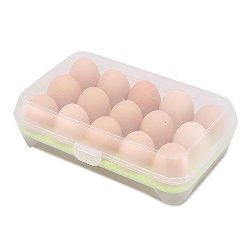 Vroxy Kitchen Plastic Refrigerator Egg Storage Box/Container Holder Fridge Tray/Food Storage Container, 15 Grids (Random Color) (15 Grid Egg Box)