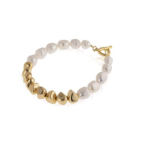NIEVOS JEWELRY Pulsera chapada en oro con perlas de diseño moderno y chapado en oro de 24 quilates. Delicado y de moda, hecho a mano por mujeres para su regalo joyería amor