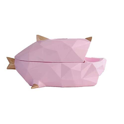GFDFD Tejido de Resina Caja- Escultura BigMouth Pescado y Decoración, Adornos Creativo del almacenaje de Inicio de Estar y Comedor Regalos Hechos a Mano Decoración (Color : Pink)