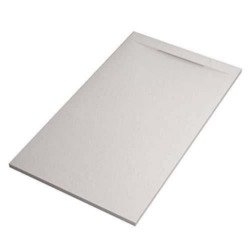 Receveur de douche blanc effet pierre, 90 x 120 cm