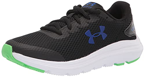 Under Armour Unisex Grade School Surge 2 Running Shoe, Black (006)/White, 7 US Men
