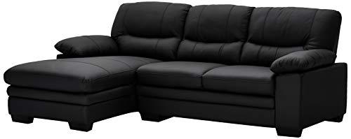 Furnhouse Furniture Sofá, Piel auténtica, PVC, Negro, 228x154x88
