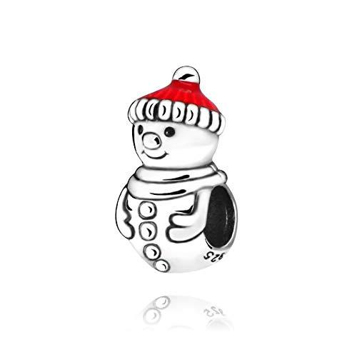 QIAMUCJC Plata 925 Color Plata Cuentas de Navidad muñeco de Nieve Sombrero de Navidad Encanto Ajuste Original Pandora Pulseras joyería de Mujer