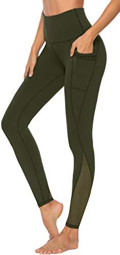Persit Yoga Leggings Damen, Sporthose Yogahose Sport Leggins Tights für Damen Gelboliv-Size 38 (Herstellergröße: M)