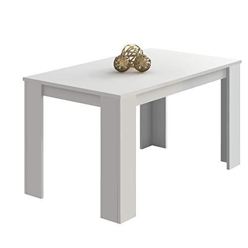 duehome Mesa Comedor, Mesa Fija, Modelo Berta, Acabado Color Blanco, Medidas: 140 cm (Largo) x 80 cm (Ancho) x 75 cm (Alto)