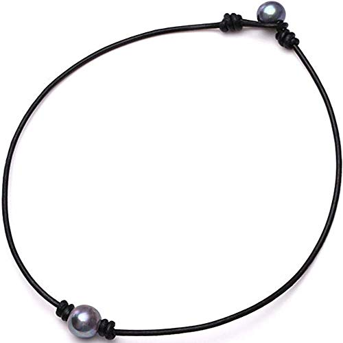 2020 Ladies Fashion Single Cultured Freshwater Pearl Choker Necklace for Women Genuine Leather Jewelry Handmade (Black)