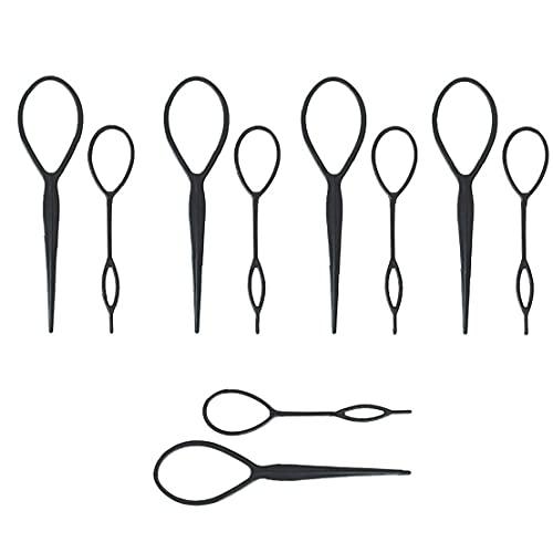 Capelli Braid Maker Coda di cavallo Coda di cavallo che designa il creatore Topsy Tail Loop della resina di plastica dei capelli che designa attrezzo accessori Black 5 Set 10PCS Hair Styling