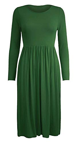 Islander Fashions Damen Lange Frankie Ausgestelltes Skater Jersey Kleid Womens Phantasie Rauch Schaukel Kleid Flasche Gr�n 3X Large