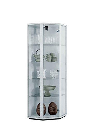BR-Wohndesign Glasvitrine Sammlervitrine Eckvitrine Vitrine in Weiß (Dekor) mit 4 Glaseinlegeböden Nicht höhenverstellbar und Beleuchtung