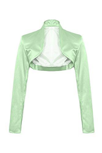 Elegante bolero a maniche lunghe in raso verde mela XXXL