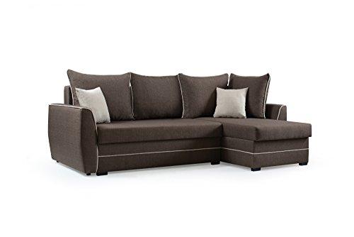 mb-moebel Ecksofa Sofa Eckcouch Couch mit Schlaffunktion und Bettkasten Ottomane L-Form Schlafsofa Bettsofa Polstergarnitur - Roxy (Ecksofa Rechts, Braun)