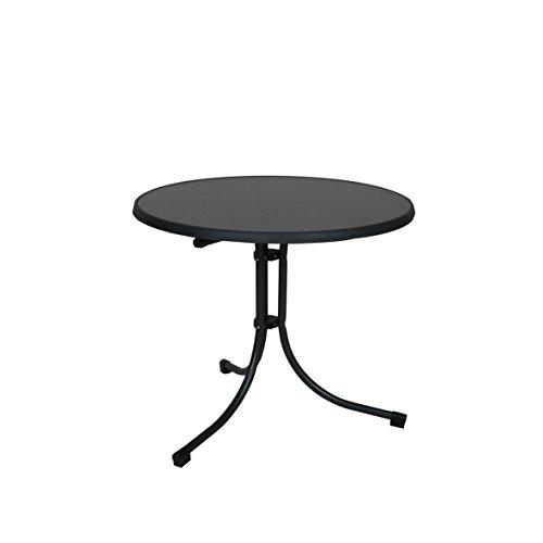Ribelli Klapptisch Tisch Gartentisch Terassentisch platzsparend klappbar, runder Tisch mit robustem Stahlgestell, besonders pflegeleicht, Ø 85x70cm, anthrazit