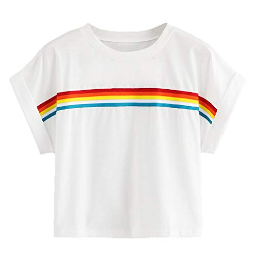 Weant Damen Sommer Bauchfrei T-Shirt, Mädchen Teenager Mode Kurzarm O Neck Regenbogen Shirt Casual Crop Tunika Oberteile Shirt Bluse Tops