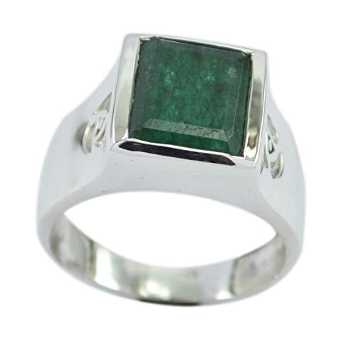riyo Handgemachter 925er Sterlingsilber entzückender echter grüner Ring, indischer Smaragdgrün-Edelstein-Silberring