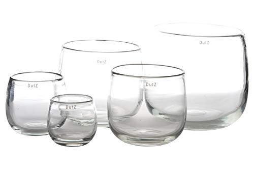 Dutz Collection | Pot Deko Glas Vase H 14 cm D 16 cm Windlicht Übertopf | Mundgeblasen Dickwandig Transparent Klar | Tischdeko Frühling Sommer