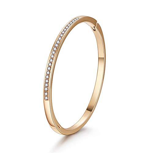 AZEWE Damen Armband Armreif Armkette Vergoldet aus Kristallen und Edelstahl Gold Rosegold Silber Ideal Geburtstag Hochzeit Geschenk für Frauen Mutter Mädchen (Gold 3)
