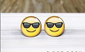 Cool Emoji Stud Pendientes hipoalergénicos para orejas sensibles
