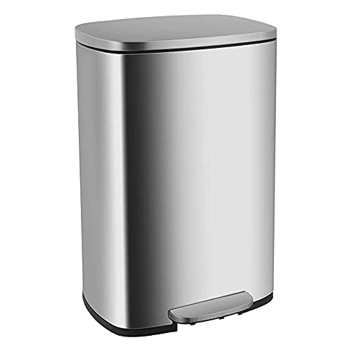 Stainless Steel Trash Can, Silent Close Lid 13 Gallons Waste Bin, Kitchen Garbage Can with Removal...