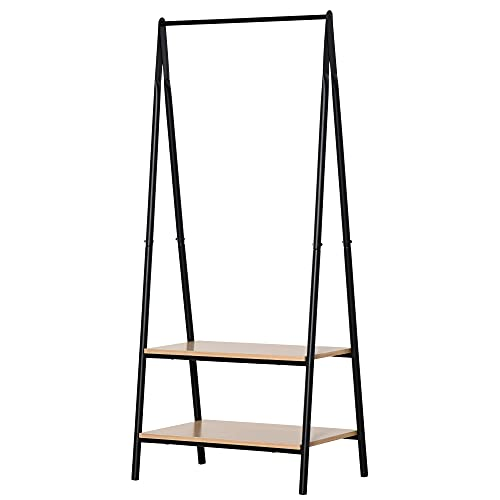 HOMCOM 2-Tier Garment Rack Storage Shelves Metal Coat Clothes Stand Shoes Storage Organisation shelves Open Wardrobe Freestanding Tidy Rail 64 x 42.5 x 149 cm