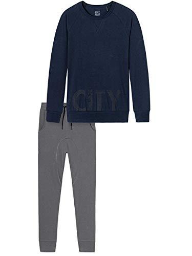 Schiesser Jungen lang Zweiteiliger Schlafanzug, Blau (Nachtblau 804), 164
