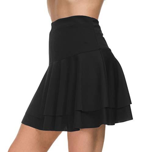 Afibi Stretchy Flared Ruffle Layered Mini Skater Skirts for Women (Small, Black 2)