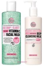 (2 PACK) Soap & Glory Face Soap & Clarity 3-in-1 Daily Detox Vitamin C Facial Wash x 350ml & Soap & Glory Peaches & Clean 4-in-1 Wash-Off Deep Cleansing Milk x 350ml