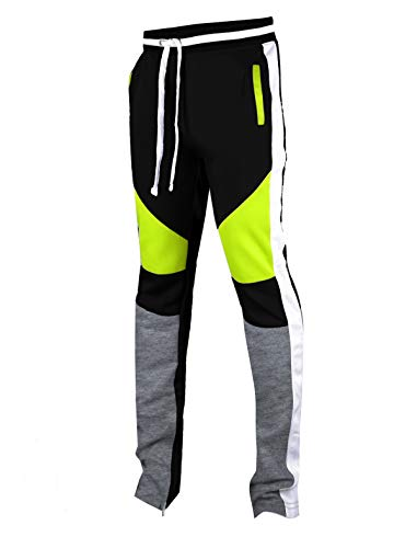 SCREENSHOTBRAND-P41901 Mens Activewear Premium Slim Fit Track Pants - Athletic Jogger Color Block Cut & Sew Sportswear Bottoms-Black/Neon-Small